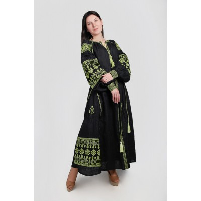 Boho Style Ukrainian Embroidered Maxi Broad Dress Black with Neon Green Embroidery