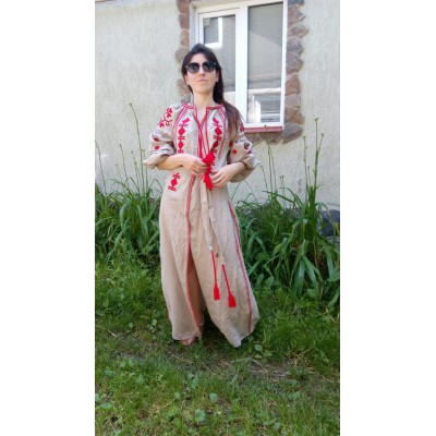 Boho Style Ukrainian Embroidered Maxi Broad Dress Mocco with Red Embroidery