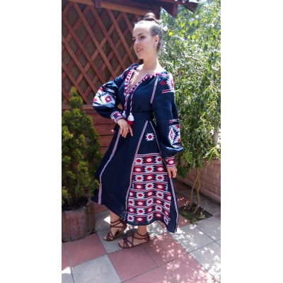 Boho Style Ukrainian Embroidered Maxi Broad Dress Navy with White/Mauve Embroidery