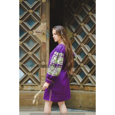 Boho Style Ukrainian Embroidered Classic Dress Purple with Neon Green Embroidery