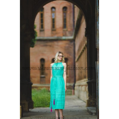 Boho Style Ukrainian Embroidered Maxi Narrow Dress Mint