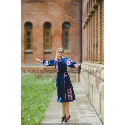 Boho Style Ukrainian Embroidered Maxi Broad Dress Navy with White/Red Embroidery