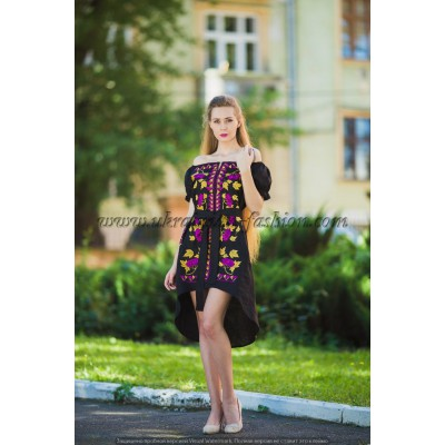 Boho Style Ukrainian Embroidered Evening Dress Black with Purple/Yellow Embroidery