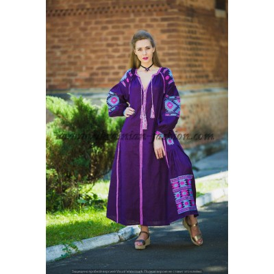 Boho Style Ukrainian Embroidered Maxi Broad Dress Purple with Pink/Light Blue Embroidery