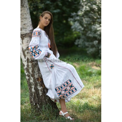 Boho Style Ukrainian Embroidered Maxi Dress White with Blue/Orange Embroidery