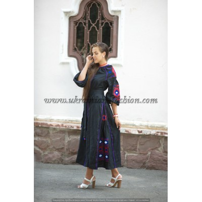 Boho Style Ukrainian Embroidered Maxi Broad Dress Grey with Pink/Blue/White Embroidery