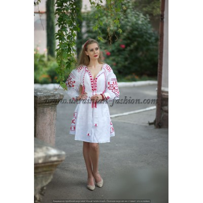 Boho Style Ukrainian Embroidered Maxi Dress White with Red Embroidery