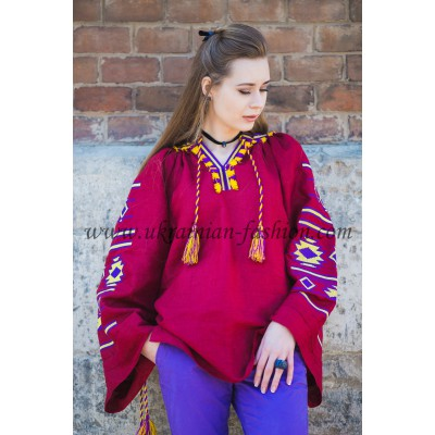 Boho Style Ukrainian Embroidered Folk Blouse 35