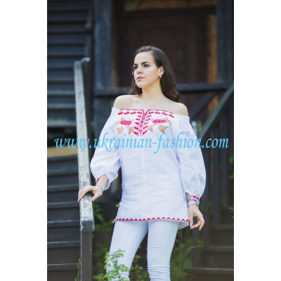 Boho Style Ukrainian Embroidered Folk Blouse 36