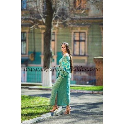 Boho Style Ukrainian Embroidered Maxi Dress Bluegreen with Green/White Embroidery