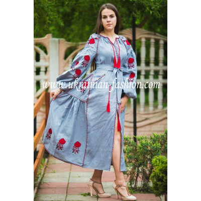 "Boho Style Ukrainian Embroidered Maxi Dress ""Roses"" Gray with Red Embroidery"