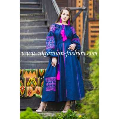 Boho Style Ukrainian Embroidered Maxi Dress Navy with Pink Embroidery
