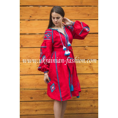 Boho Style Ukrainian Embroidered Classic Dress Red with White/Blue Embroidery