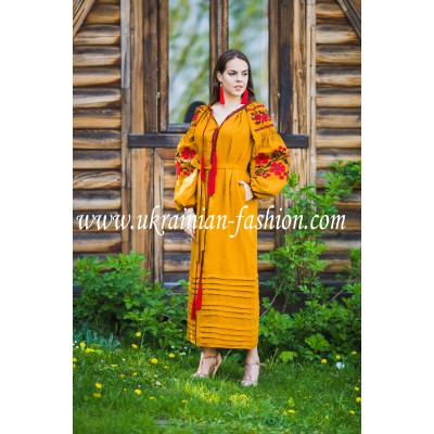 Boho Style Ukrainian Embroidered Maxi Dress Mustard with Red/Black Embroidery