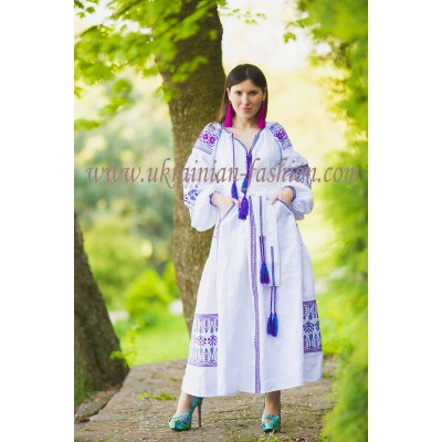 Boho Style Ukrainian Embroidered Maxi Dress White with Purple/Blue Embroidery