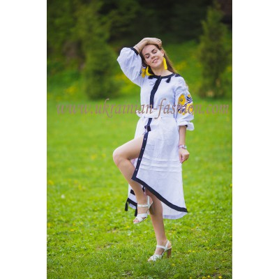 Boho Style Ukrainian Embroidered Assimetric Dress Flowers White with Yellow/Black Embroidery