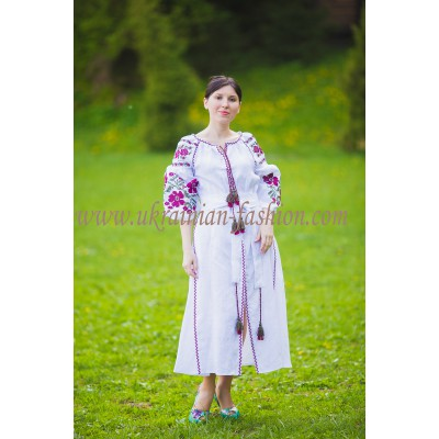 Boho Style Ukrainian Embroidered Maxi Dress White with Pink/Black Embroidery