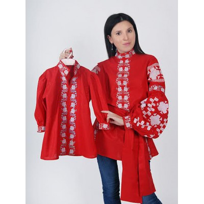 "Boho Style Ukrainian Embroidered Folk Set of blouses ""Mother + Daughter"""
