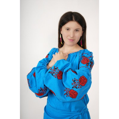 Boho Style Ukrainian Embroidered Folk  Blouse 7