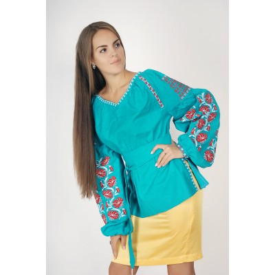 Boho Style Ukrainian Embroidered Folk Blouse 8