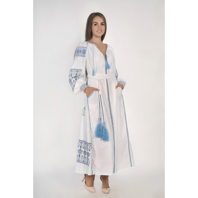 Boho Style Ukrainian Embroidered Maxi Broad Dress White with Blue Embroidery
