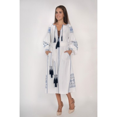 Boho Style Ukrainian Embroidered Midi Broad Dress White with Blue Embroidery