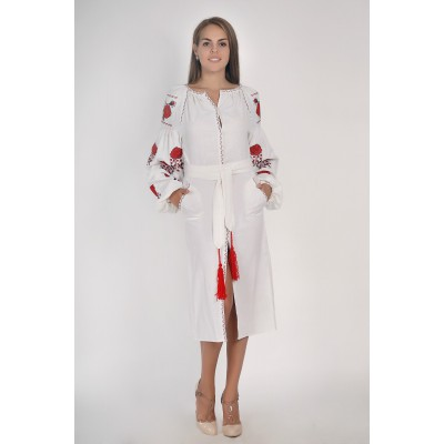Boho Style Ukrainian Embroidered Midi Broad Dress White with Red/Black Embroidery