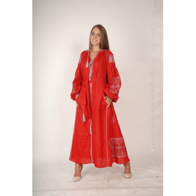 Boho Style Ukrainian Embroidered Maxi Broad Dress Red with Grey Embroidery