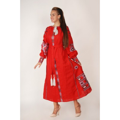 Boho Style Ukrainian Embroidered Maxi Broad Dress Red with Grey/Brown Embroidery
