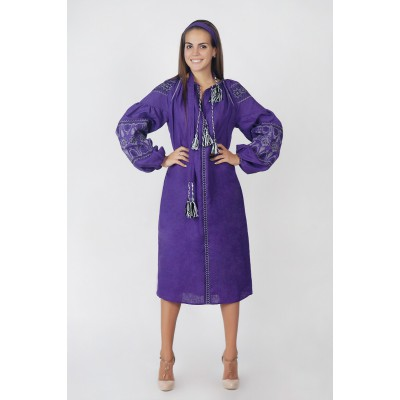Boho Style Ukrainian Embroidered Midi Dress  Violet with White/Black Embroidery
