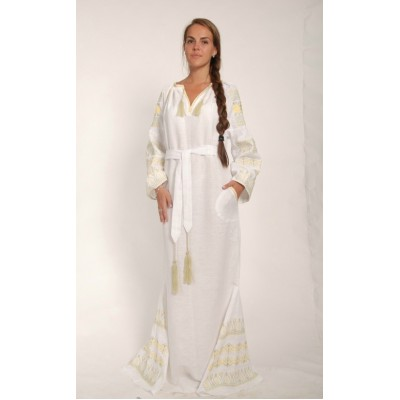 Boho Style Ukrainian Embroidered Maxi Broad Dress White with Golden Embroidery