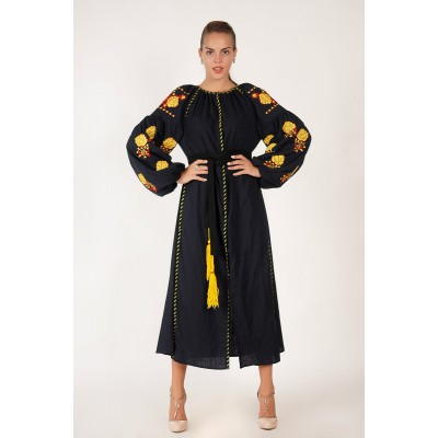 Boho Style Ukrainian Embroidered Midi Broad Dress Black with Yellow Embroidery