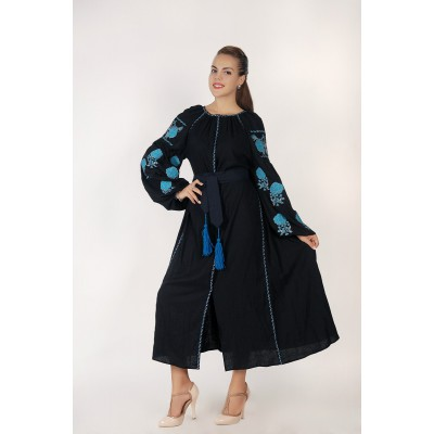 Boho Style Ukrainian Embroidered Midi Broad Dress Black with Blue Embroidery