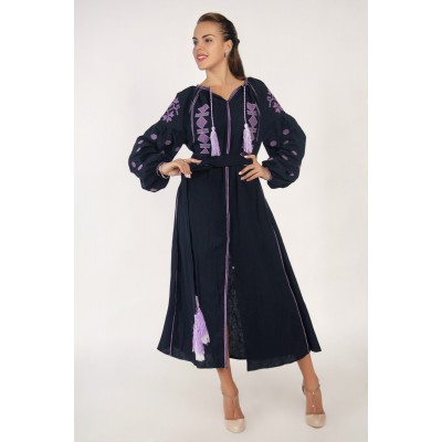 Boho Style Ukrainian Embroidered Midi Broad Dress Black with Violet Embroidery