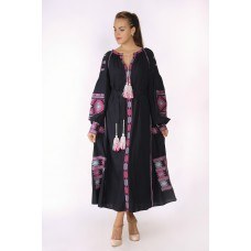 Boho Style Ukrainian Embroidered Maxi Broad Dress Black with Grey/Pink Embroidery