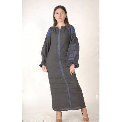 Boho Style Ukrainian Embroidered Maxi Narrow Dress Grey with Blue Embroidery