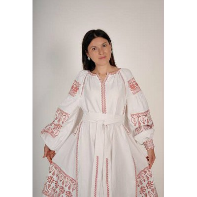 Boho Style Ukrainian Embroidered Midi Broad Dress White with Red Embroidery