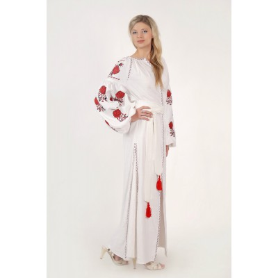 Boho Style Ukrainian Embroidered Maxi Broad Dress White with Red/Black Embroidery