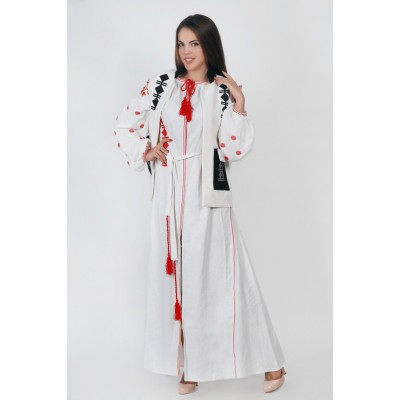 Boho Style Ukrainian Embroidered Maxi Broad Dress Pockets White with Red/Black Embroidery