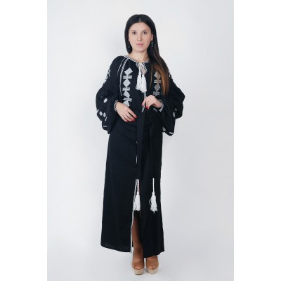 Boho Style Ukrainian Embroidered Maxi Broad Dress Black with White Embroidery