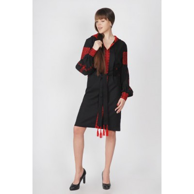 Boho Style Ukrainian Embroidered Classic Dress with Hood Black with Red Embroidery