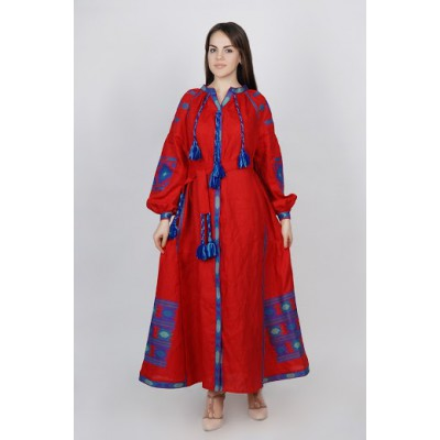 Boho Style Ukrainian Embroidered Maxi Broad Dress Red with White/Blue Embroidery