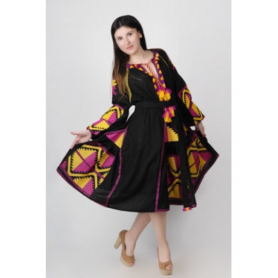 Boho Style Ukrainian Embroidered Midi Broad Dress Black with Pink/Yellow Embroidery
