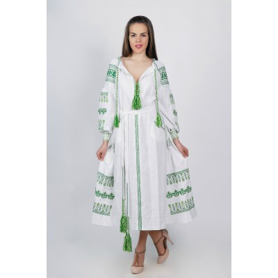 Boho Style Ukrainian Embroidered Maxi Broad Dress White with Green Embroidery