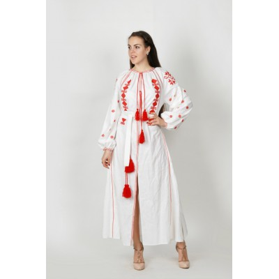 Boho Style Ukrainian Embroidered Maxi Broad Dress White with Red Embroidery