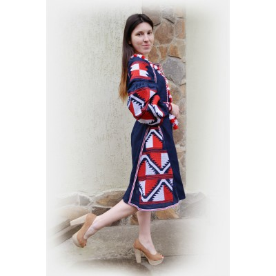 Boho Style Ukrainian Embroidered Midi Broad Dress Blue with Red/White Embroidery