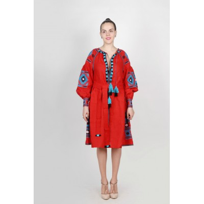 Boho Style Ukrainian Embroidered Midi Broad Dress Red with Black/Blue Embroidery