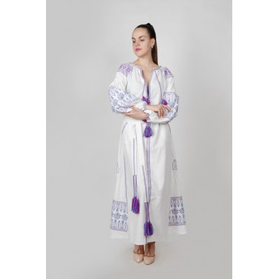 Boho Style Ukrainian Embroidered Maxi Broad Dress White with Purple/Blue Embroidery