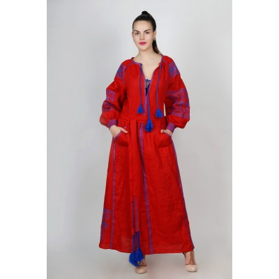 Boho Style Ukrainian Embroidered Maxi Broad Dress Red with Dark Blue Embroidery