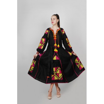 Boho Style Ukrainian Embroidered Maxi Broad Dress Black with Pink/Yellow Embroidery